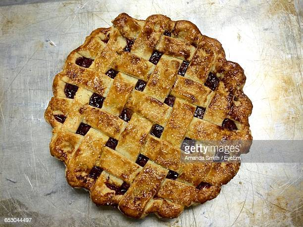High Angle View Of Cherry Pie