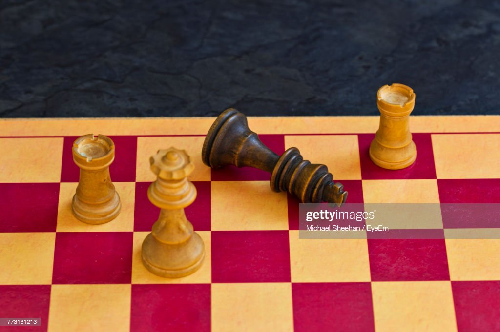 High Angle View Of Chess Board : Photo