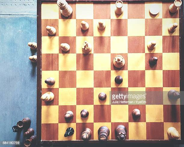 High Angle View Of Chess Pieces On Chess Board