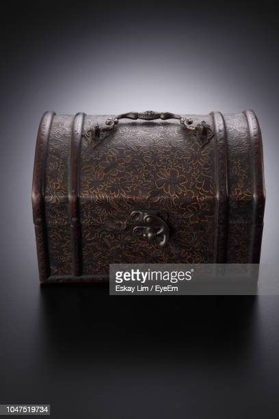 high angle view of chest on table - ancient stock pictures, royalty-free photos & images