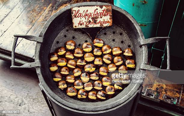 High Angle View Of Chestnuts On Barbeque