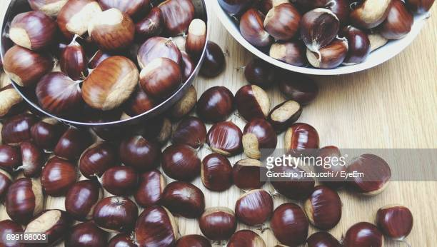 High Angle View Of Chestnuts On Table