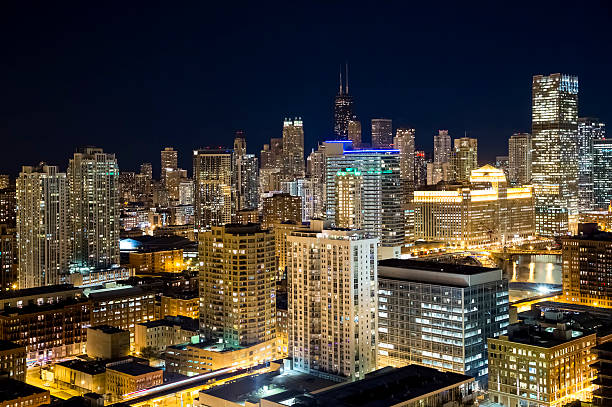 High Angle View of Chicago at Night