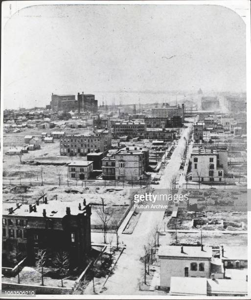 High angle view of Chicago from the top of the waterworks, after the Great Chicago Fire of 1871, USA.