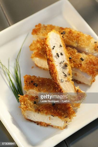 High Angle View Of Chicken Katsu In Plate On Table