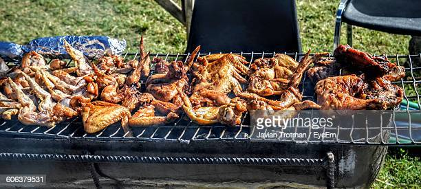 High Angle View Of Chicken Wings On Barbeque