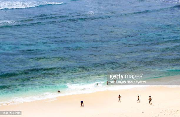 High Angle View Of Children On Beach