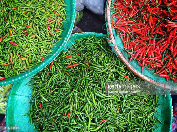 High Angle View Of Chili Peppers For Sale In Market