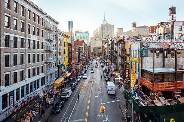 High Angle View Of Chinatown From Manhattan Bridge Wall Art