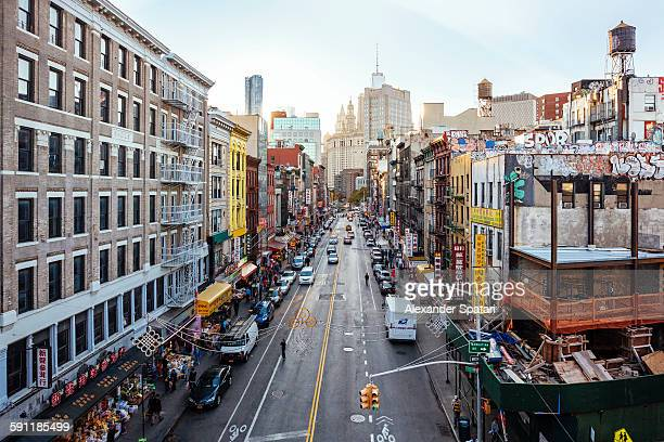 high angle view of chinatown from manhattan bridge - lower manhattan stock photos and pictures