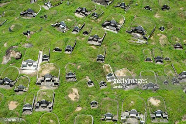 high angle view of chinese cemetery - funeral photos stock photos and pictures