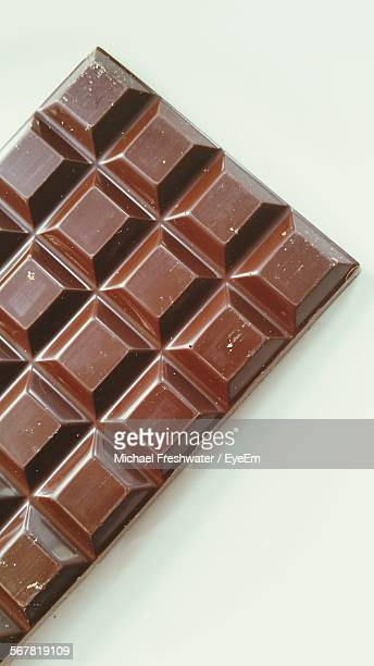 High Angle View Of Chocolate Bar Against White Background