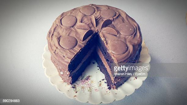 High Angle View Of Chocolate Cake In Plate On Table