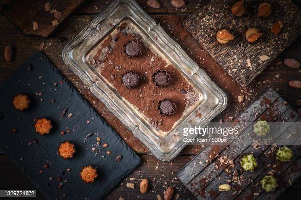high angle view of chocolate cake on table - marzipan stock pictures, royalty-free photos & images