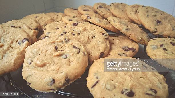 High Angle View Of Chocolate Chip Cookies In Oven