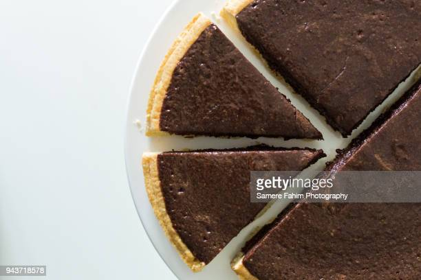high angle view of chocolate pie - samere fahim stock photos and pictures