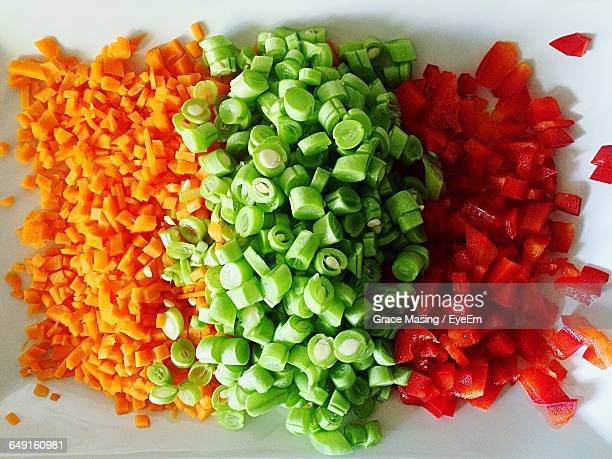 High Angle View Of Chopped Vegetables On Plate