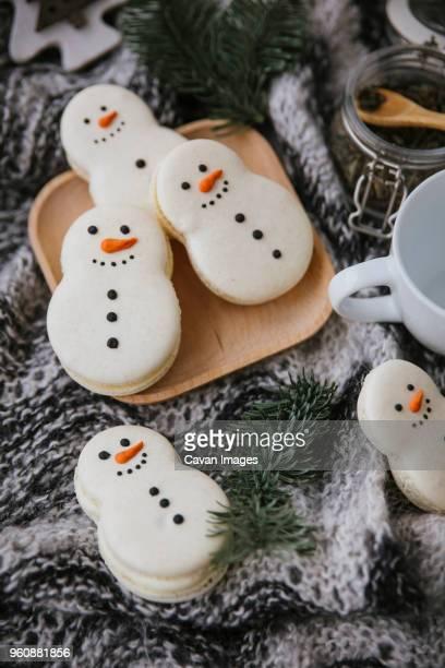 High angle view of Christmas cookies on table