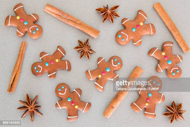high angle view of christmas cookies - gingerbread man stock photos and pictures