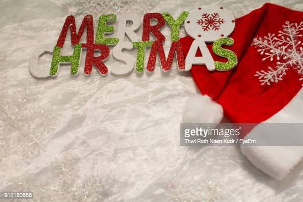 High Angle View Of Christmas Decoration With Santa Hat