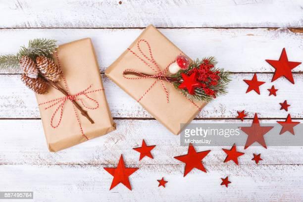 High Angle View Of Christmas Presents On Table