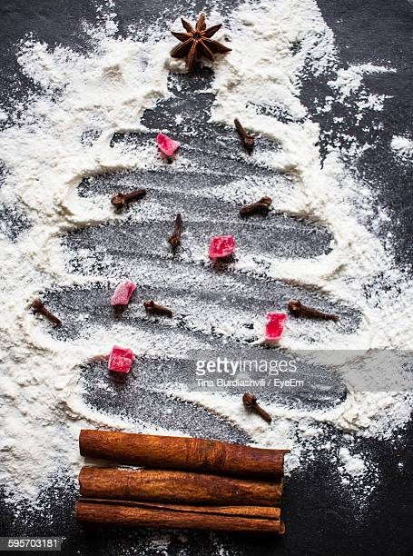 High Angle View Of Christmas Tree Made By Various Ingredients On Table