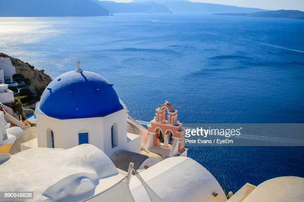 High Angle View Of Church Against Sea At Santorini
