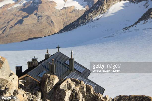 High Angle View Of Church On Snowcapped Mountain