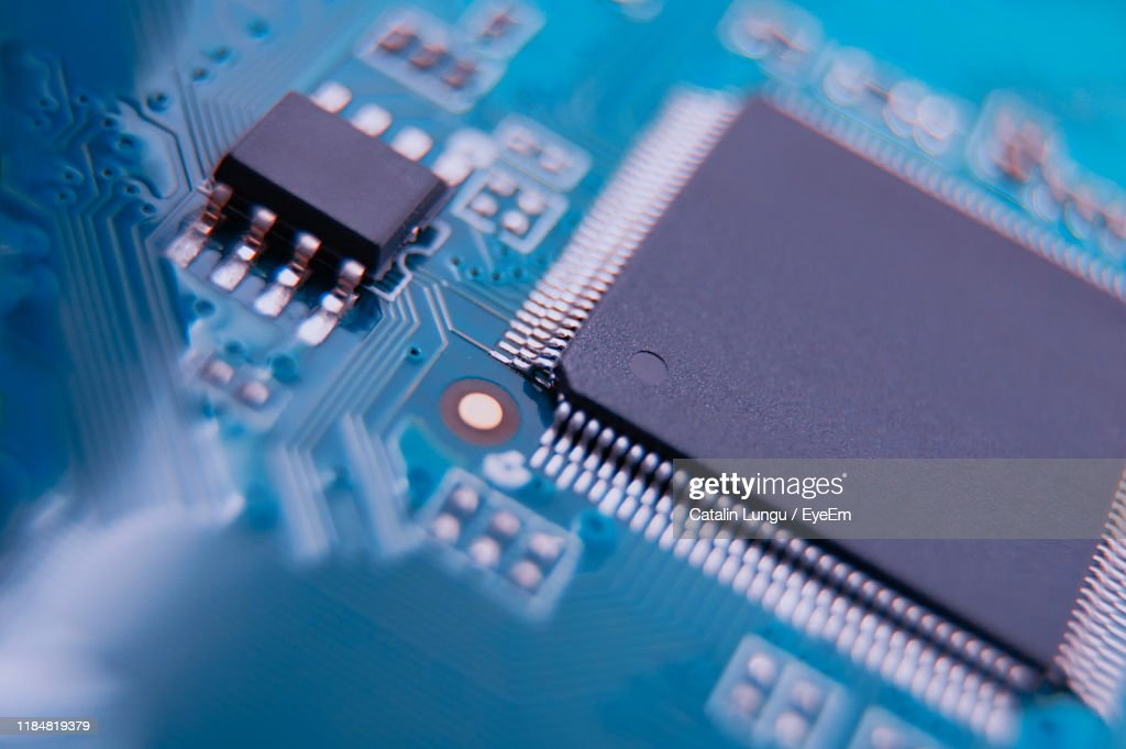 High Angle View Of Circuit Board : Stock-Foto