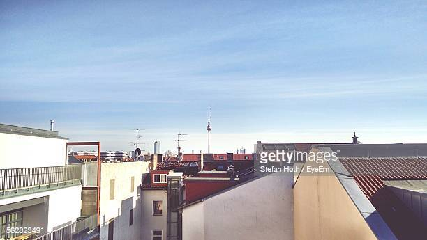 High Angle View Of City Against Blue Sky