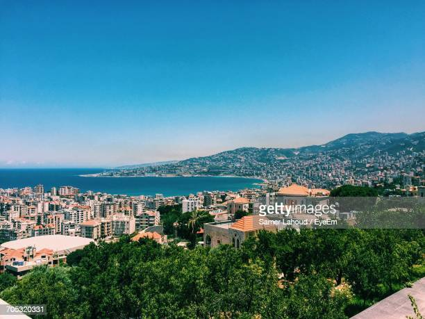 high angle view of city against blue sky - lebanon stock pictures, royalty-free photos & images