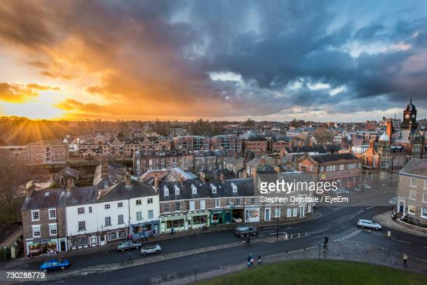 high angle view of city against cloudy sky - york yorkshire stock pictures, royalty-free photos & images