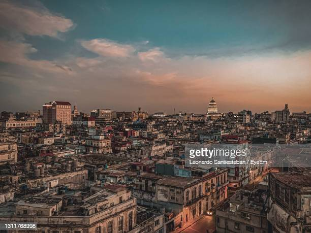 high angle view of city against sky during sunset in havana - havana stock pictures, royalty-free photos & images