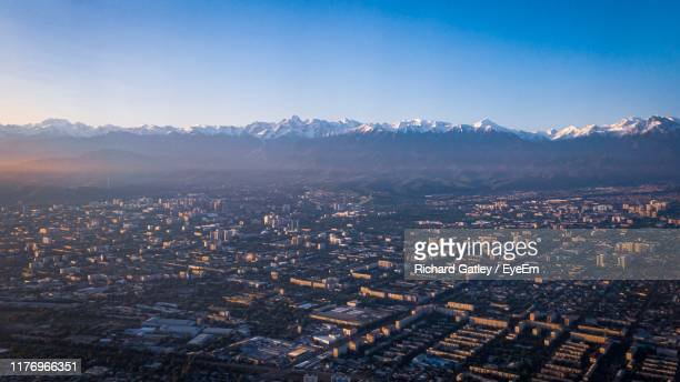 high angle view of city against sky - kazakhstan stock pictures, royalty-free photos & images