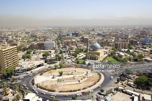 high angle view of city against sky - baghdad stock pictures, royalty-free photos & images