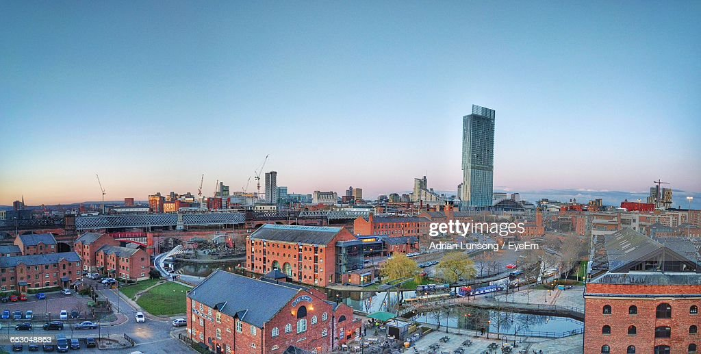 High Angle View Of City Against Sky : Stock Photo