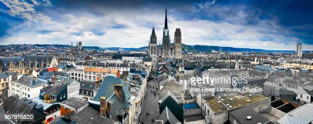 high angle view of city against sky - rouen stock pictures, royalty-free photos & images