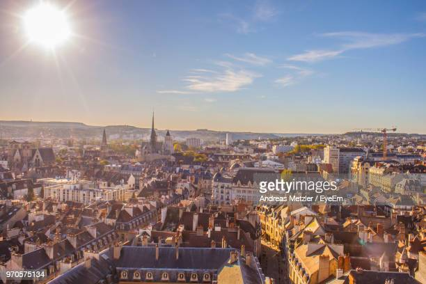 high angle view of city against sky - andreas solar stock pictures, royalty-free photos & images