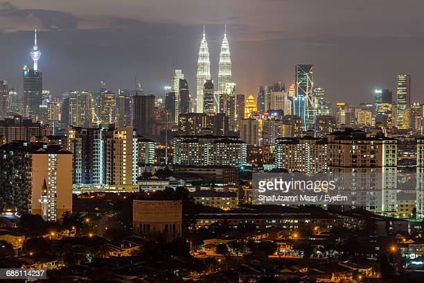 high angle view of city at night - shaifulzamri stock pictures, royalty-free photos & images