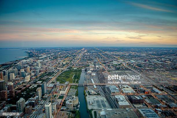 high angle view of city at night - midwest usa stock pictures, royalty-free photos & images
