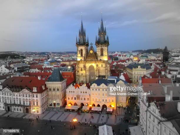 high angle view of city at night - astronomical clock prague stock pictures, royalty-free photos & images