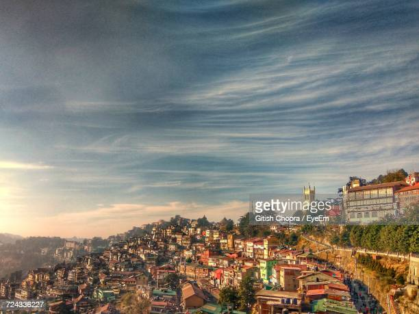 high angle view of city at night - shimla stock pictures, royalty-free photos & images