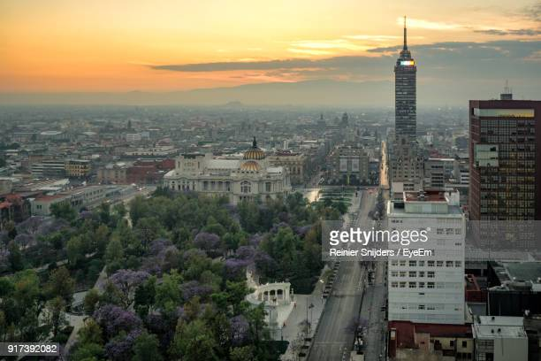 high angle view of city at night - mexico city stock pictures, royalty-free photos & images