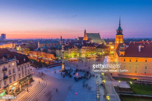 high angle view of city at night - warsaw stock pictures, royalty-free photos & images