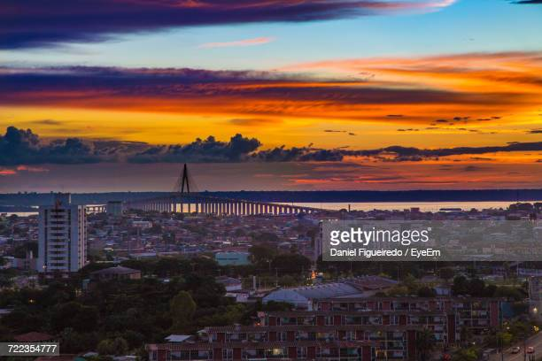 high angle view of city at sunset - manaus stock pictures, royalty-free photos & images