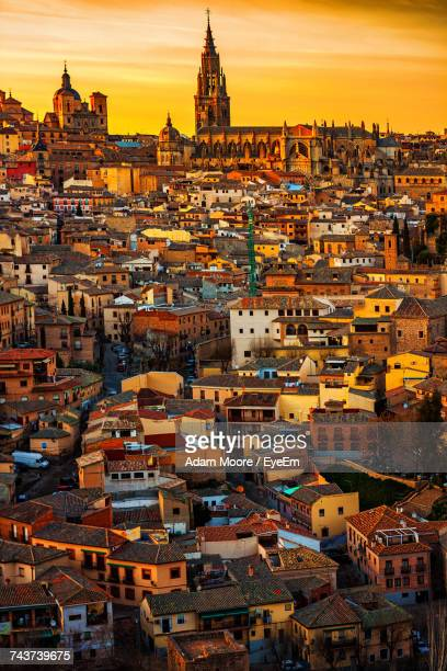 high angle view of city at sunset - toledo spain stock pictures, royalty-free photos & images