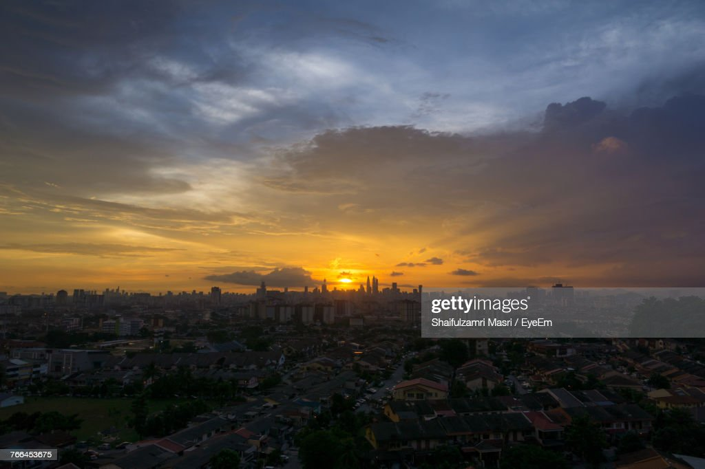 High Angle View Of City At Sunset : Stock Photo