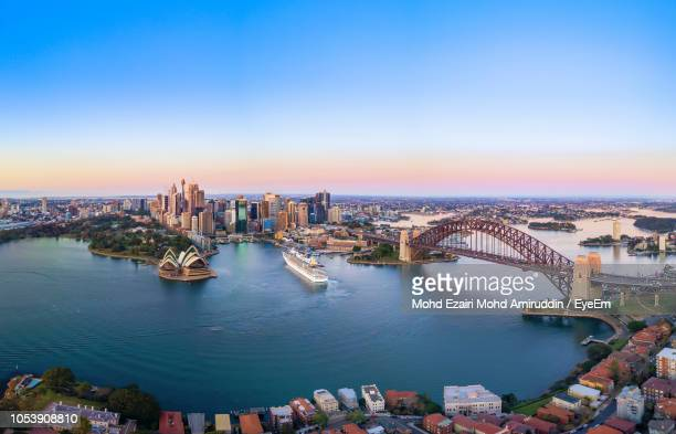 high angle view of city at waterfront - sydney stock pictures, royalty-free photos & images