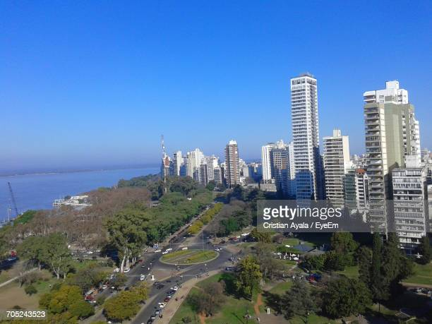 high angle view of city at waterfront - santa fe province stock photos and pictures