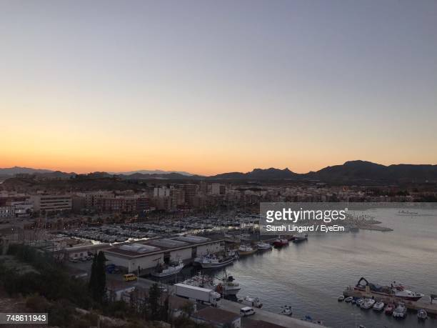high angle view of city at waterfront - lingard stock photos and pictures